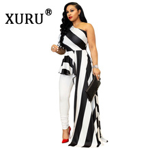 XURU Summer New Womens Dress Fashion Striped Shoulder Nightclub Irregular
