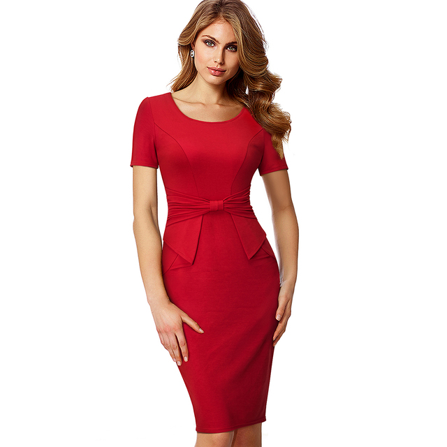 Women Elegant Slim Dress Work Office Business Party Bodycon Pencil Dress Casual Short Sleeve Summer