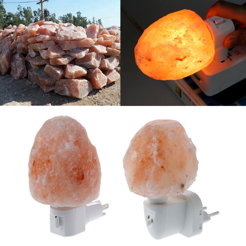 15W Rotatable Natural Himalayan Salt Lamp Air Purifier Crystal Salt Rock Bedside Night Light