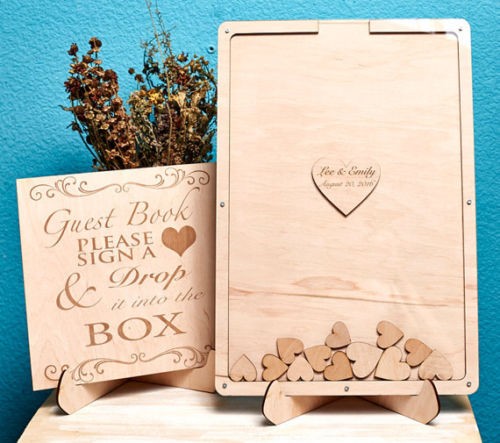 Unique Wedding Guest Book Frame Guestbook Sign Alternate Shadow Box Heart Drop Top