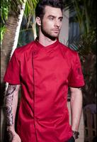 2018 winter solid cotton short sleeved chef service hotel working wear restaurant work clothes tooling uniform jackets 4 color