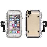 Sporty ekstremalne Wodoodporna Nurkowanie Skrzynki Pokrywa Z Obiektywem Szerokokątnym dla iPhone 6 6 s dla GoPro akcesoria Moto Rowerów Phone uchwyt