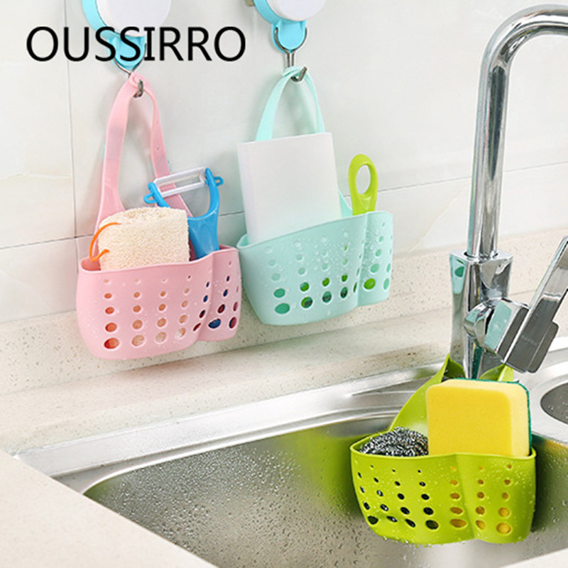 1pcs Sink Faucet Hanging Cradle Adjustable Organizer Drainer Kitchen Shelving Rack Cutlery Holder Sponge Holder Storage Basket