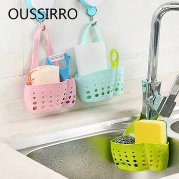 1pcs Sink Faucet Hanging Cradle Adjustable Organizer Drainer Kitchen Shelving Rack Cutlery Holder Sponge Storage Basket