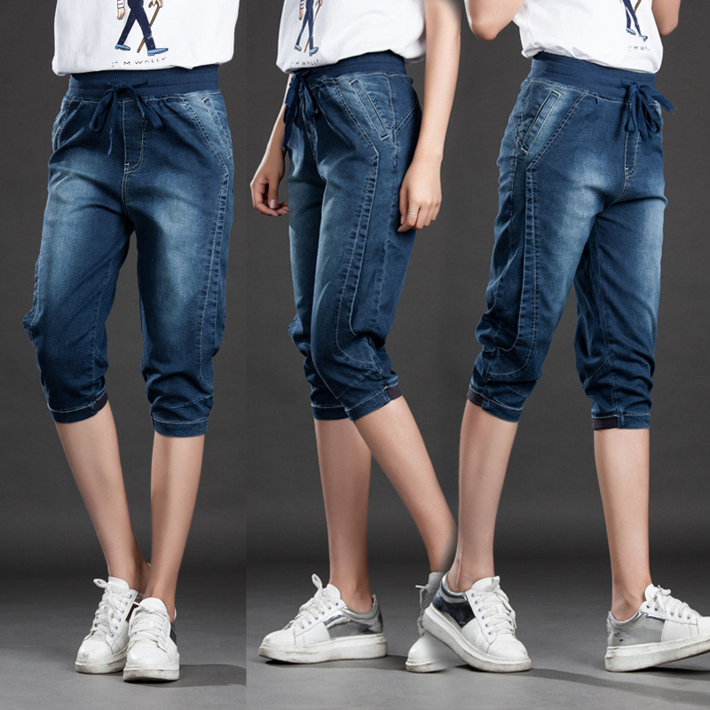 HTB1CBnagYZnBKNjSZFrq6yRLFXal - High Waist Jeans Woman Stretch Summer Denim Pants Trousers Plus Size 5XL Capri Jeans For Women Short Harem Pants Female C4553
