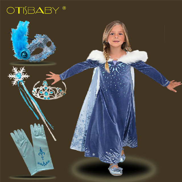 Children's Velvet Elsa Dress for Girl Cosplay Birthday Party Prom Princess Dress Fairy Snow Queen Costume Snowflake Kids Clothes