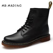 MRMADING Men Boots Shoes Unisex High Help Martens Shoe Famous Designer Retro Full Grain Leather Couple Casual Shoes Martin Boots