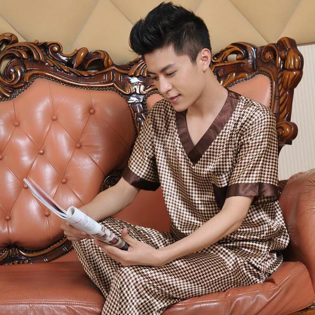 Pijama masculino homme Para Hombre Pijamas ropa de dormir de Verano de manga Corta 2016