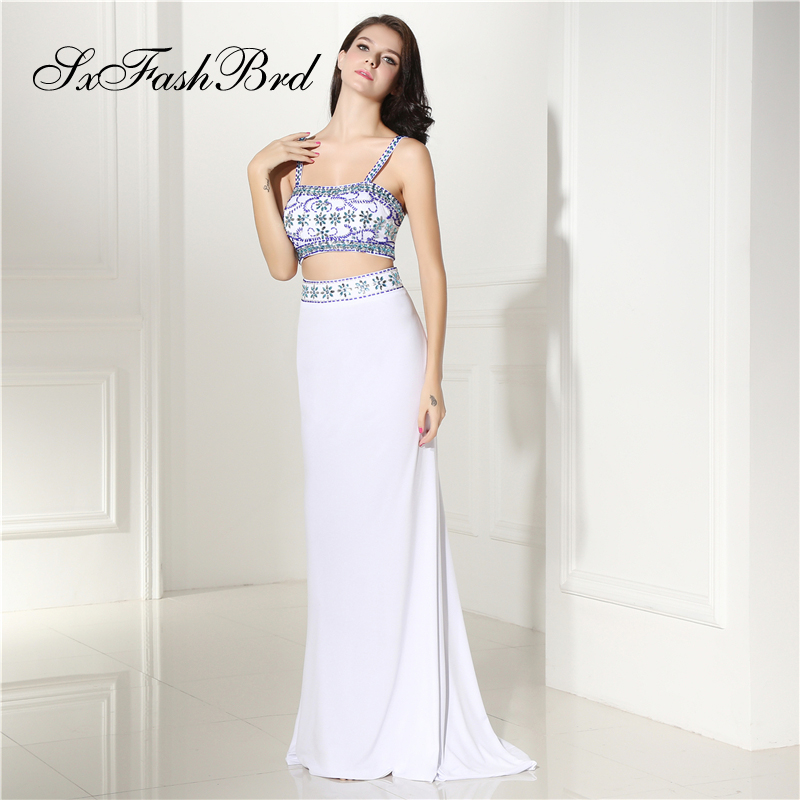 Robe Longue Sweetheart With Beading Crop Top Mermaid Long Formal Elegant   Dresses   for Women Evening Party Two Pieces   Prom     Dress