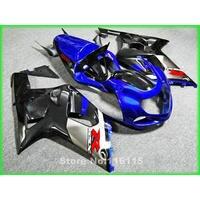 motorcycle fairing kit fit for SUZUKI GSXR600 GSXR750 K1 2001 2002 2003 silver black blue fairings GSXR 600 750 01 02 03 A46