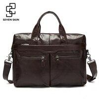 Genuine Leather Men Bags Business Briefcase Men S Laptop Bag Man Vintage Crossbody Shoulder Handbag Male