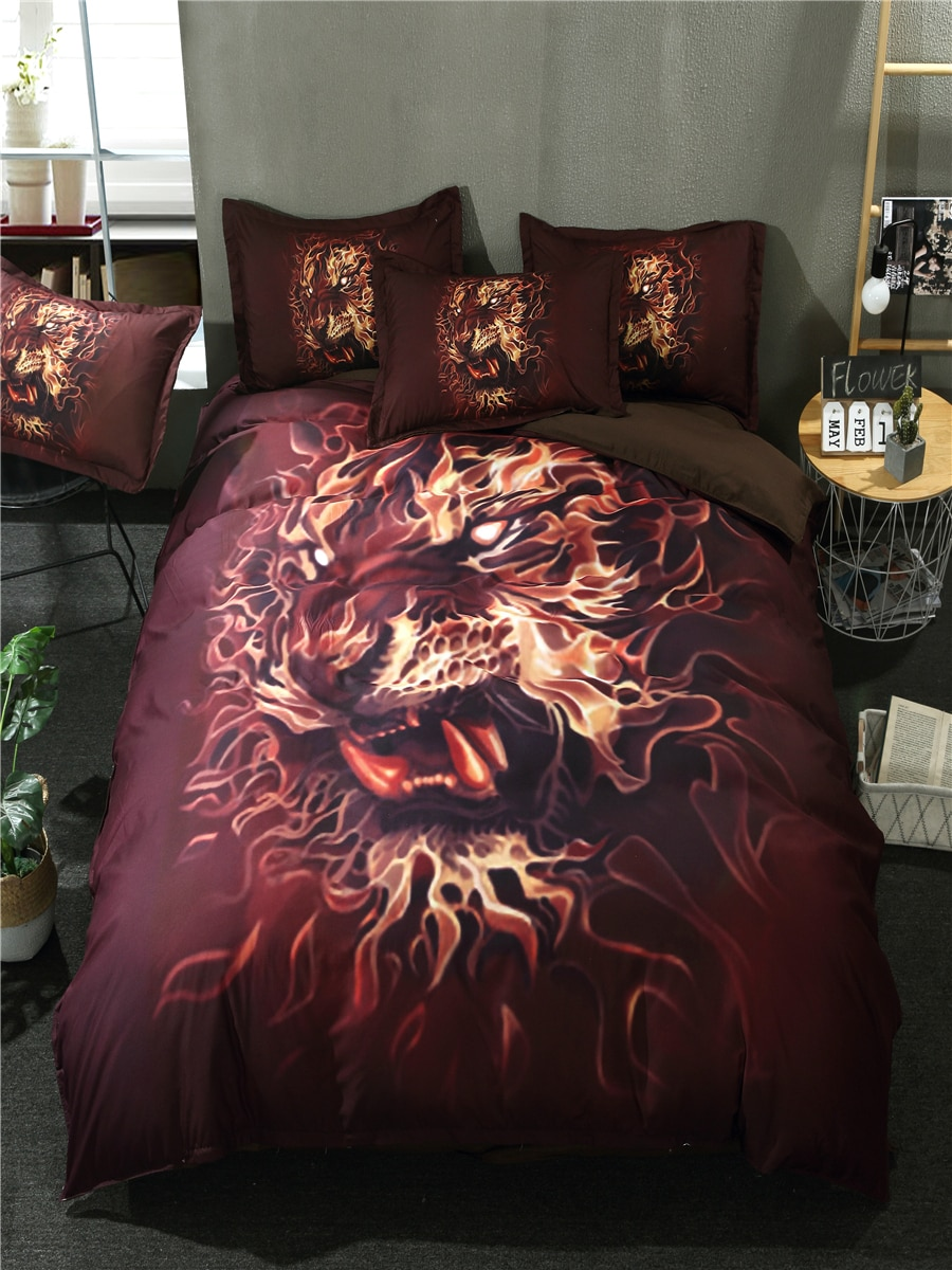 3/4 Pcs Home Bed Linen Set 3D Printing Lifelike Tiger Pattern Supple Bed Clothes 3/4 Pcs Home Bed Linen Set 3D Printing Lifelike Tiger Pattern Supple Bed Clothes