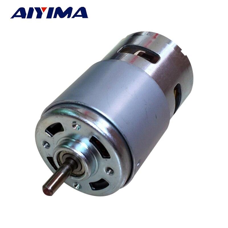 Aiyima 795 DC Motor gran par alta potencia DC12V-24V Universal Motor doble Cojinete de bolas mudo de alta velocidad eje redondo