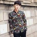 Мужские Фантазии Рубашки 2017 Цветочек Мужские Рубашки Цветочный Принт Camisa Masculina Социальной Барокко Рубашки Мужские Британский Стиль Топ Slim Fit