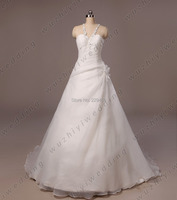 81 Halter Flower Lace Up Back Luxury Beaded Backless Wedding Dresses Gown Bride Dress 2014 With