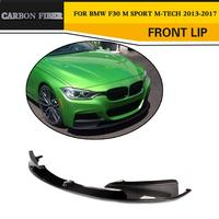 3 Series Carbon Fiber Front Bumper Lip Spoiler With splitters For BMW F30 M Sport Sedan 4 Door 12 17 Non Standard 320i 328i 335i