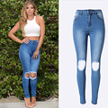 Olrain    Women Destroyed Ripped Distressed Denim Pants Boyfriend Jeans Knee Broken Hole Trouser