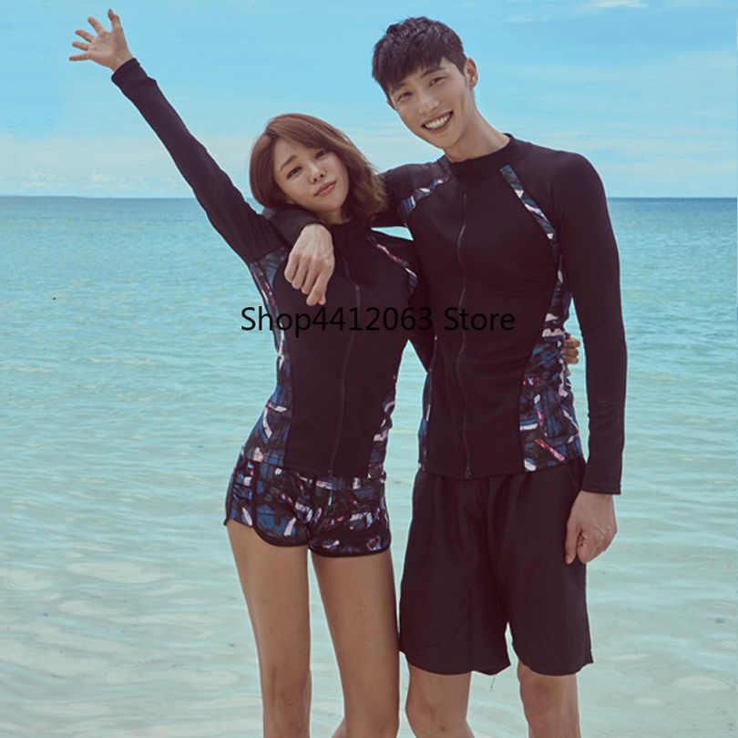 Surf Baju Renang Pasangan Patchwork Dipotong Cetak Ruam Penjaga Pria Wanita Berenang Baju Lengan Panjang Baju Renang Surfing Pakaian untuk Pecinta