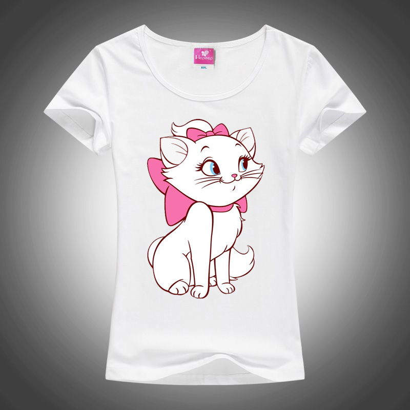 2018 Summer Women Kawaii Tops T-shirt Casual Cute Beautiful Little White Cat Printed T Shirt Tops Tee Shirt Femme
