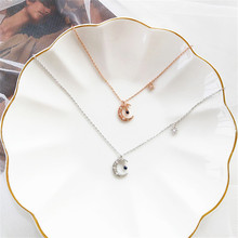 Geometric exaggerated necklace jewelry fashion lady party contracted the moon shape to wear chain of clavicle