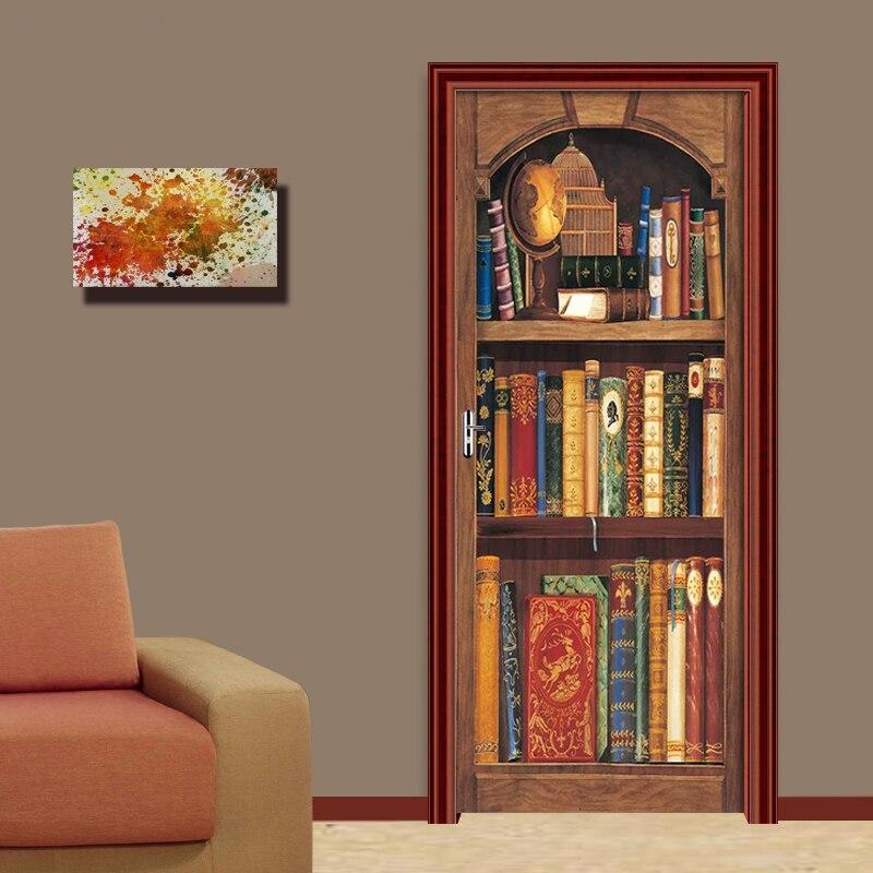 Creative 3D Vintage Bookshelf Door Sticker DIY Home Decor Decals Self Adhesive Wallpaper On Door Waterproof Mural For Bedroom