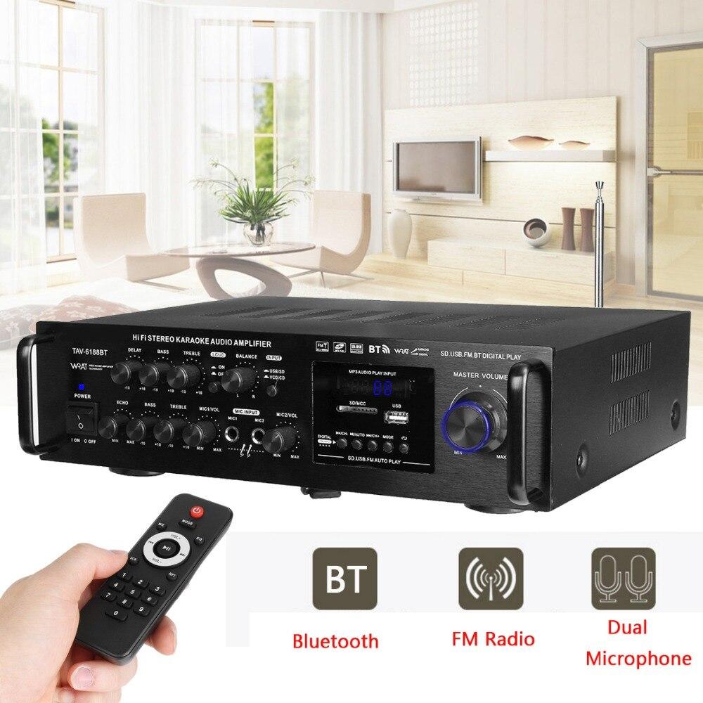 220-240 V 2000 W Sans Fil Numérique Audio Amplificateur 4ohm Bluetooth Stéréo Karaoké Amplificateur 2 Entrée MICRO FM RC Home Cinéma Amplificateur