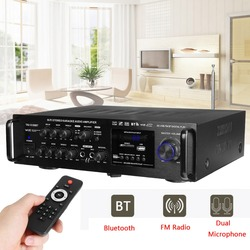220-240V 2000W Draadloze Digitale Audio Versterker 4ohm Bluetooth Stereo Karaoke Versterker 2 Mic Input Fm Rc home Theater Versterker