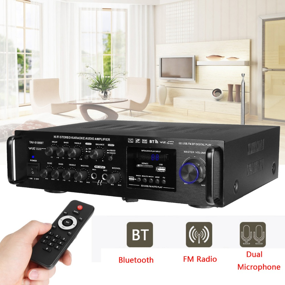 220-240V 2000W Wireless Digital Audio Amplifier 4ohm Bluetooth Stereo Karaoke Amplifier 2 MIC Input FM RC Home Theater Amplifier