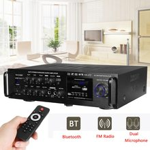 Amplificador de Audio Digital inalámbrico 220-240V 2000W, amplificador de Karaoke estéreo con bluetooth de 4ohm, amplificador de cine en casa con entrada de 2 micrófono FM RC