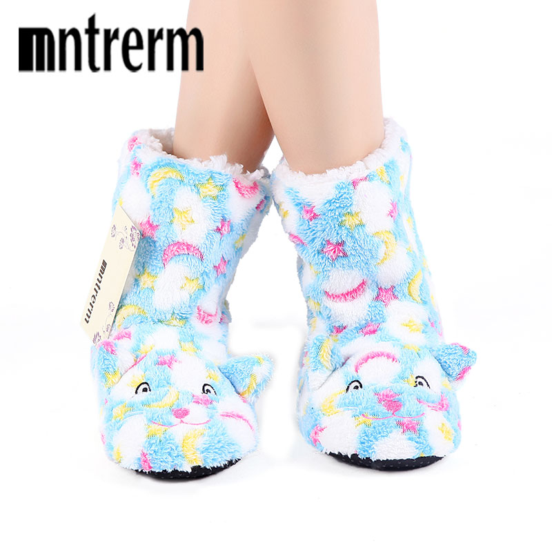 Mntrerm 2017 Winter Warm Indoor Slippers Cute Cartoon Plush Slippers for Women Unisex Home Slippers warm Floor shoes mntrerm 2017 winter warm indoor slippers cute elephant cartoon animals slippers for women flannel home slippers send family gift