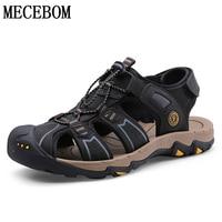Summer Sandals Men Genuine Leather Shoes Beach Casual Male Sandals Breathable Comfortable Black Men Shoes
