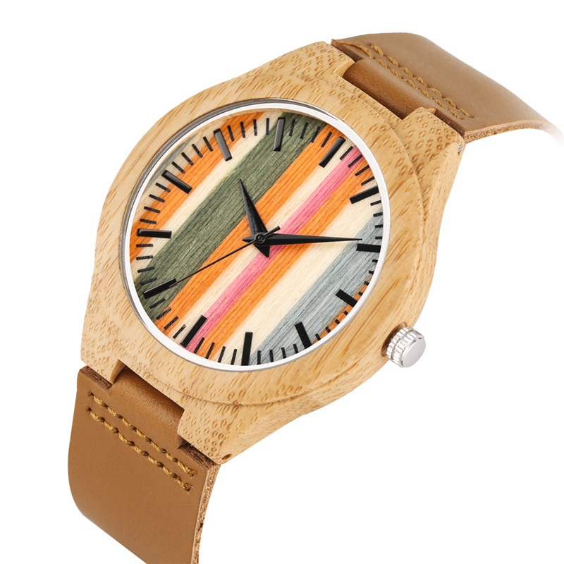 Chic Casual Bamboo Quartz Watch Movement For Women Men Practical Leather Bamboo Watches Unique Stripes Colorful Case Wood Watch