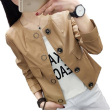 tnlnzhyn 2017 Spring Autumn Women Leather Jackets Long sleeves Pu Faux Leather Coats Short Leather Jacket  Outerwear Tops Y484
