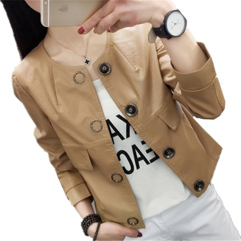 tnlnzhyn 2018 Spring Autumn Women Leather Jackets Long sleeves Pu Faux Leather Coats Sho ...