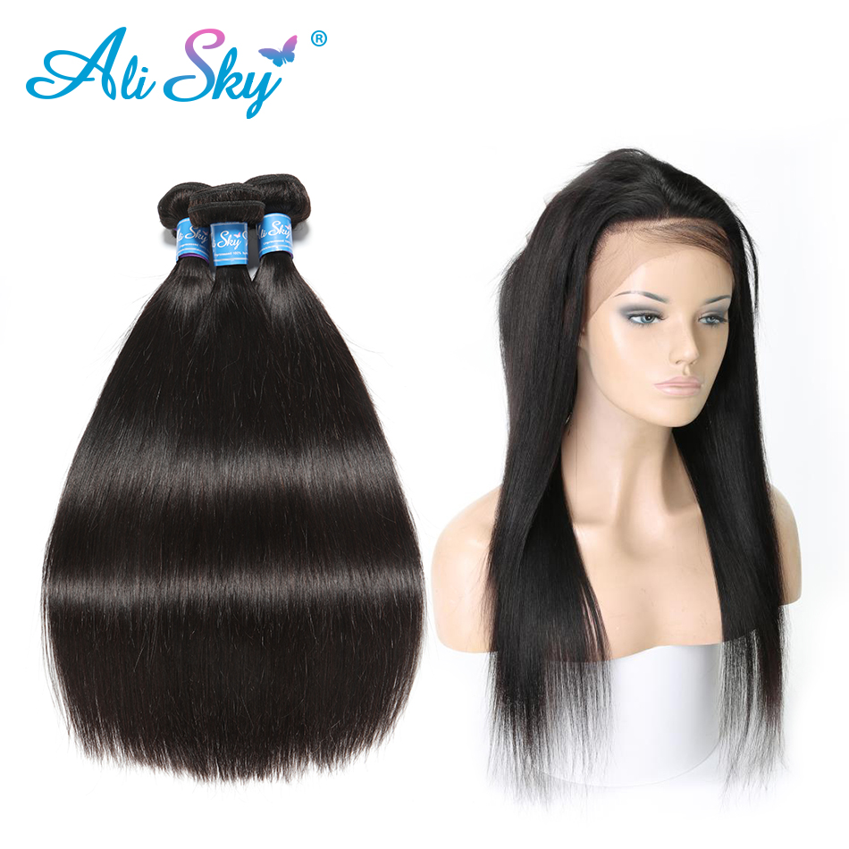 Alisky Hair Brazilian Straight Hair 360 Lace Frontal Closure With Bundles Human Hair 3 Bundles With