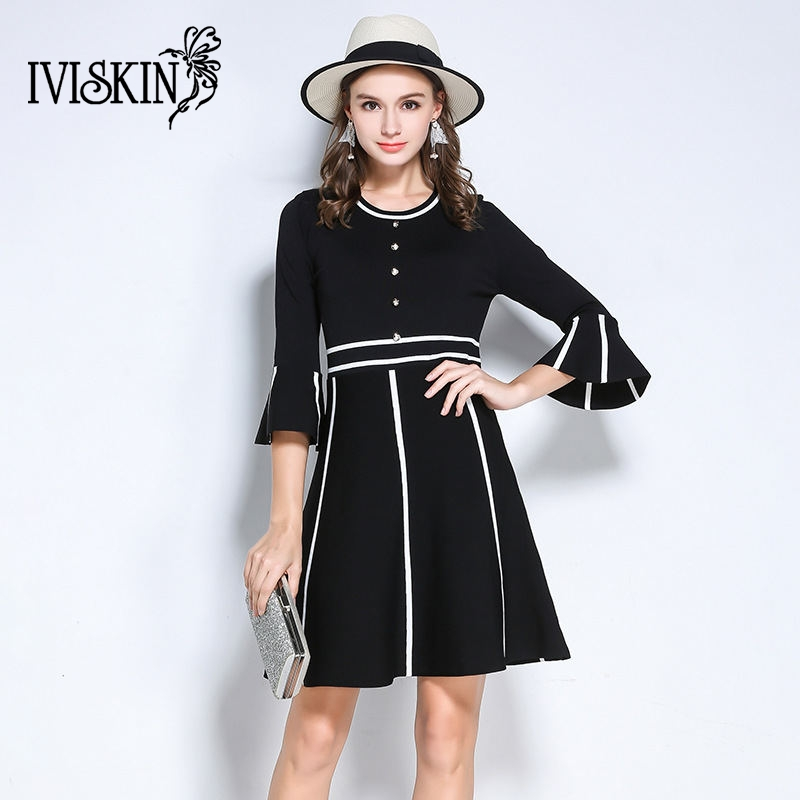 2017 Autumn Winter Black Dress Women Fashion Flare Sleeve Knitted Dress Patchwork Casual A line Dress