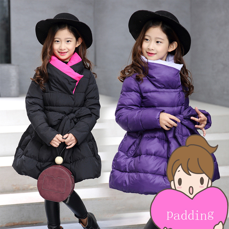Good quality Children Winter Outerwear 2016 Girls Cotton-padded Jacket Long Style Warm Thickening Kids Outdoor Snow proof Coat girls jacket with sashes cotton padded girls winter coat 2017 brand hooded wind proof kids winter jacket children outerwear