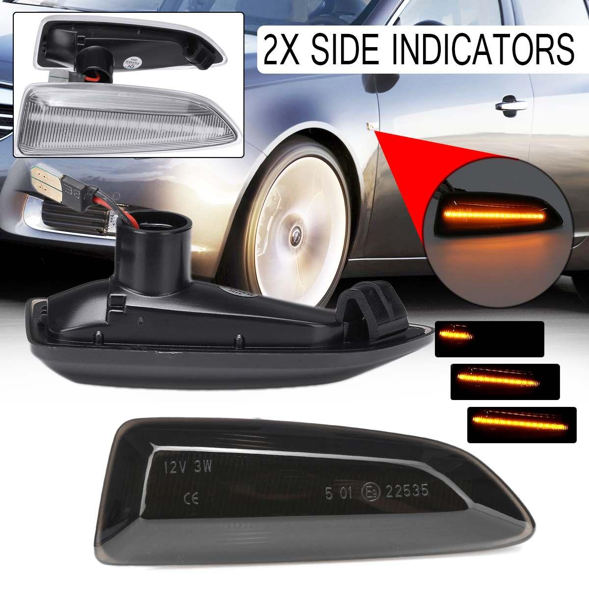 2PCS Dinâmico LED Lado Marcador Luzes 12V Fluindo Transformar a Luz do Sinal Repetidor Lateral Painel Lâmpada Lâmpada para Opel para Vauxhall Astra J K