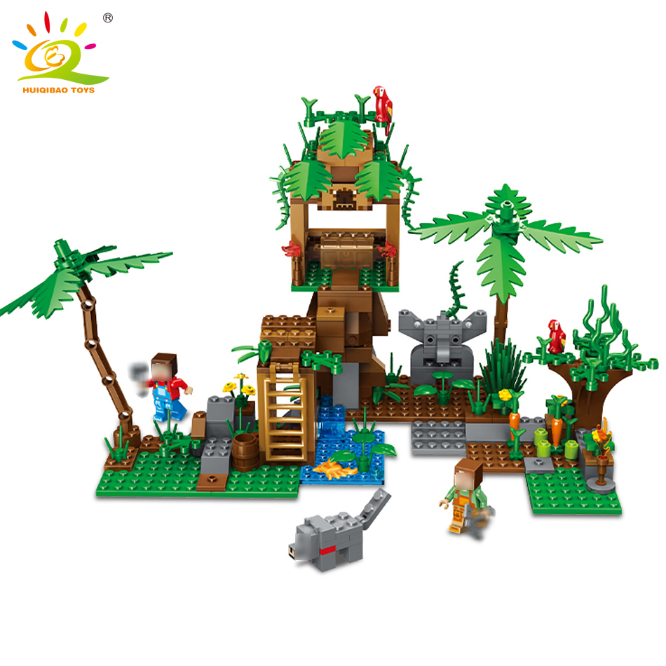 342pcs my World Series tree house in Island Model Building Blocks Compatible Legoed Minecrafted village brick toys for children my world tree house brick scene series steve mini blocks model building blocks kit toys for children compatible 21125
