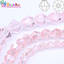 OlingArt 4mm/6mm Bicone Upscale Austrian Multicolored crystal Pink AB color glass beads Loose bead bracelet DIY Jewelry Making