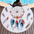 Cobertor de natação redondo toalha de praia sonho apanhador série adulto yoga tapete piquenique microfibra com design borla toalha sunbath