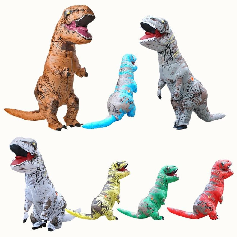 Взрослый T-REX надувной костюм Хэллоуин косплей Парк Юрского периода Динозавр комбинезон Рождественский костюм для женщин мужчин