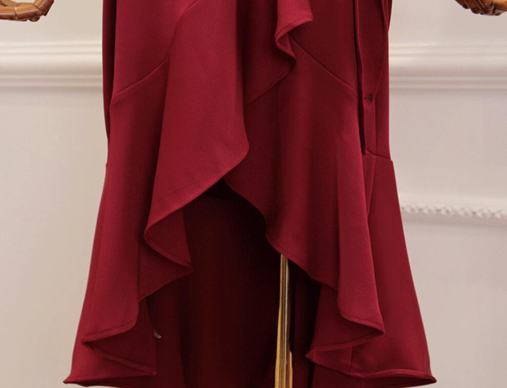 Lotus Col Taille Automne Hiver Robe Fille Cravate Parti Irrégulière V Dames Pourpre Femmes Longue Sexy Feuille De rouge 2018 Robes xBOAqng0zg