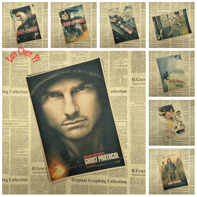 Classic Movie Tom Cruise Mission: Impossible Matte Kraft Paper Poster Office Gift Room Dining Home Decor wall sticker Design