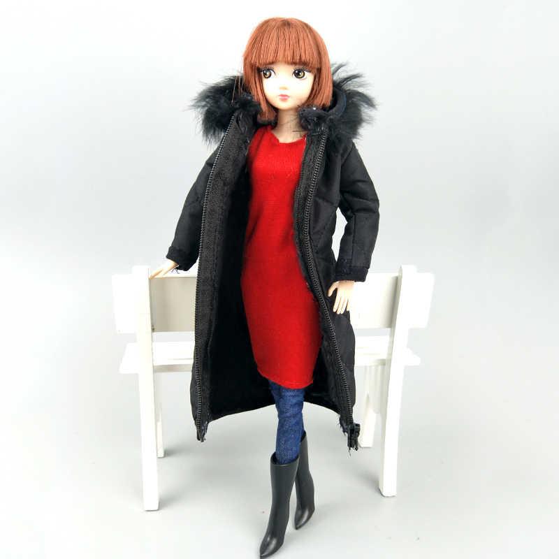 黒冬服のためのバービー人形の衣装服ドレスのため 1/6 BJD 人形ジャケット 1:6 人形アクセサリー子供のおもちゃ