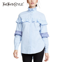 TWOTWINSTYLE Plaid Ruffles Shirts For Women Patchwork Stand Collar Long Sleeve Spring Blouse Female Fashion Plus