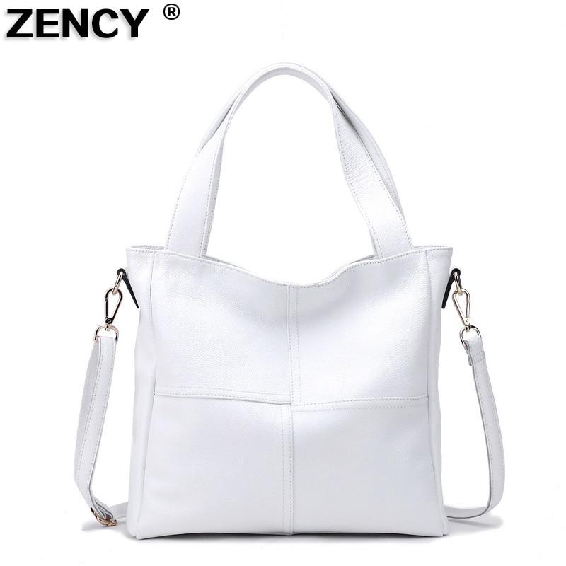 100% Genuine Leather Womens Shoulder Bags Ladies Shopping Handbag Female Long Handle Messenger Pure White Cowhide Purse Satchel