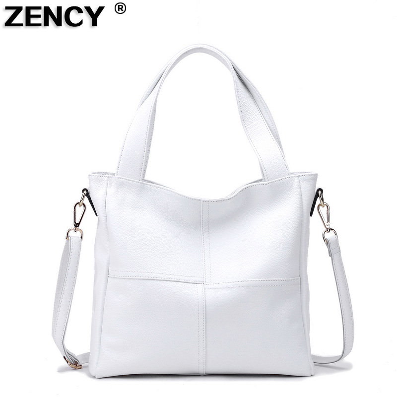 ZENCY 100% 本物の牛革女性のショルダーバッグ Ol レディーハンドバッグ女性トップハンドルストリップメッセンジャー黒、白牛革ランドセル  グループ上の スーツケース & バッグ からの トップハンドルバッグ の中 1