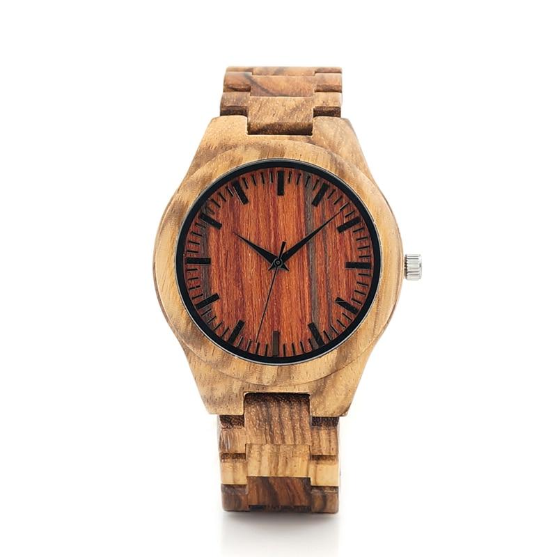BOBO BIRD K27 Zebra Wooden Wristwatch Mens Brand Design Red Wooden Dial Quartz Watch Wood Leather