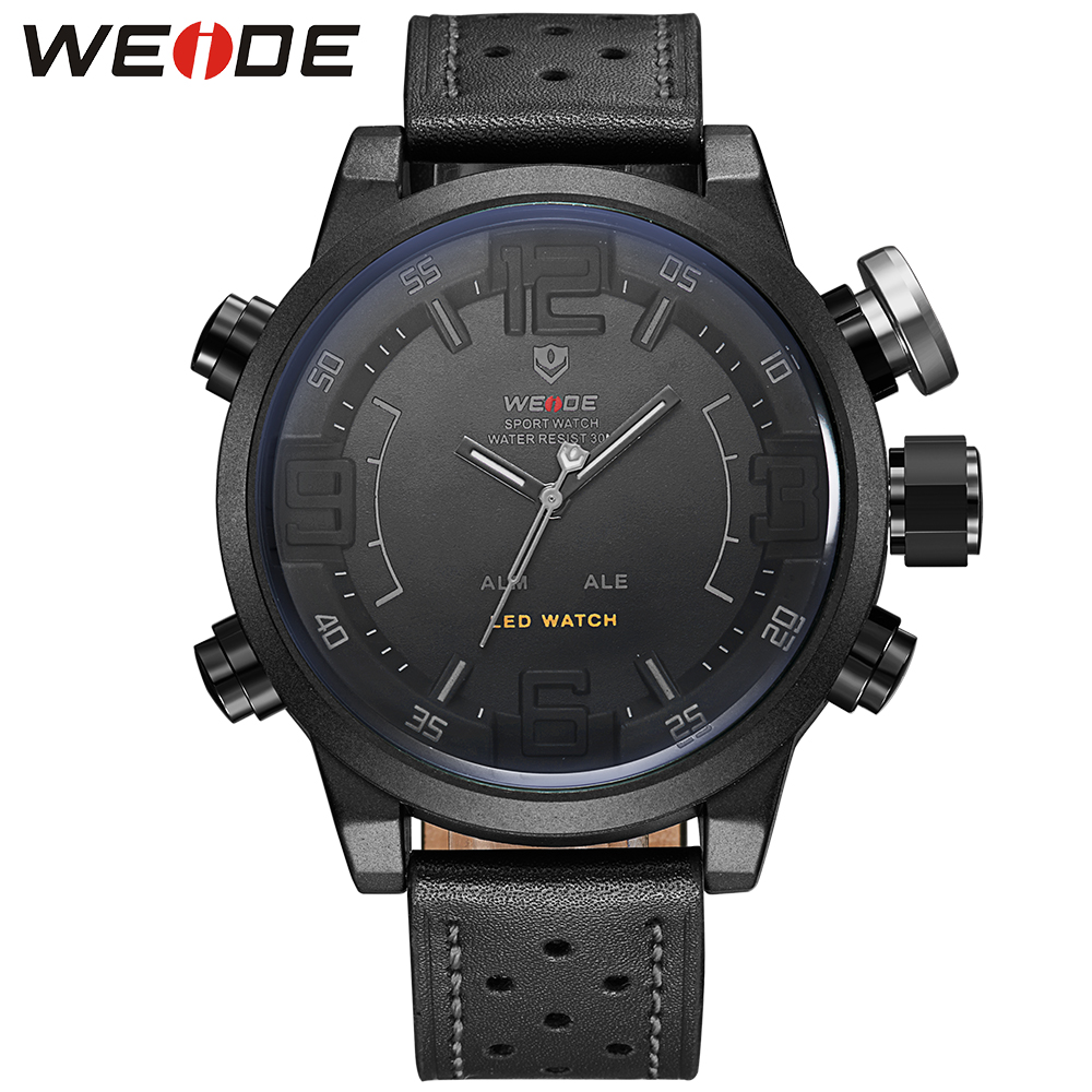 WEIDE Sports Watch Men Relogio Masculino Japan Quartz 3D Numbers Analog Digital LED Waterproof Clock 22mm Leather Strap Watches brand weide sports watch for men mens military watches led black genuine leather strap analog digital relogio masculino relojes